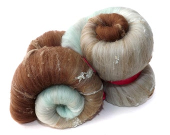 Spinning Batts - 21 micron Merino - Tussah silk - Silk noil - 100g - 3.5oz - Brown - Peppermint - BOTTOM