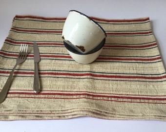 Antique turkish hemp striped fabric placemats, set of 2,  36x48cm