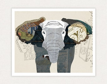 Elephant Art Print - Poster Collage Illustration Print