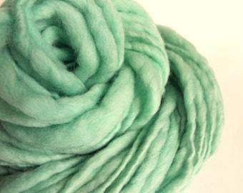 Thick and Thin knitting yarn, handspun chunky merino knitting wool, pale turquoise, mint green, big knitting wool, bulky thick wool
