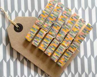 6 decorative clothes pegs - blue/multi, washi tape, wooden clothes pegs