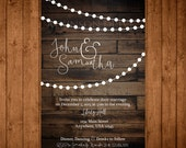 Rustic Elegance Printable Wedding Invitation. Barn Wood Invitation. Digital Wedding Invite.