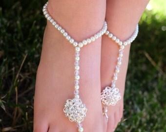 Flower girl barefoot sandals,beach wedding, baby barefoot sandals,bridesmaids barefoot sandals,baby foot jewelry,toddler barefoot sandals