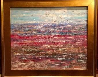 KADLIC Original Oil Painting Impasto Abstract Modern Landscape Impressionism Poppy Art 24x20