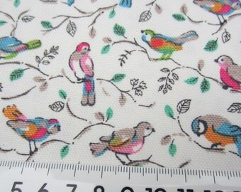 """1/2m Cath Kidston. Cotton Upholstery Fabric. Little Birds White. 145cm Wide. (19"""" x 57"""") Heavy Canvas."""