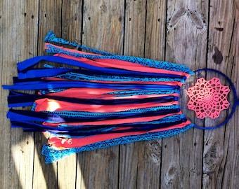 Large bright blue/pink doily cottage chic dreamcatcher