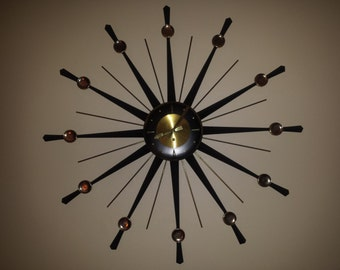 Incredible RARE Welby STARBURST CLOCK 8 day key wind movement all original with key 1950s #mid century modern
