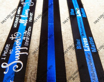 "7/8"" All Lives Matter, Support Police, Thin Blue Line -  - US Designer Printed Ribbon - 1yd, 3yd or 5 yd"
