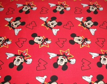 Mickey Mouse on red  cotton -  Toddler size pillowcase