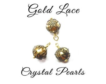 Golden Lace Pearl Hand Wrapped Drop Bead Charms, Gold Crystal Pearls and Lace, Wire Wrapped Dangles (3)