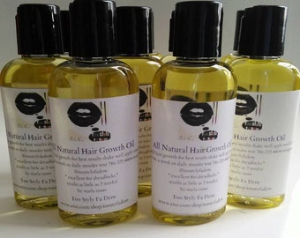 all natural hair growth oil 2oz bottle