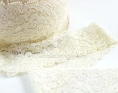 """Ivory Elastic Lace - 1.5"""" - DIY Headbands Maternity Sash Garter Hair Ties, Bridal Lace - Stretch Elastic Lace By The Yard - 1.5 inches"""