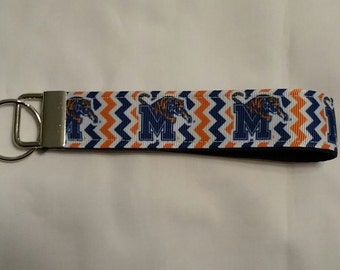 Handcrafted NCAA University of Memphis Tigers Key Chain Wristlet