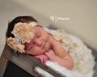 Newborn Shabby Flowers Headband Rhinestone & Pearls