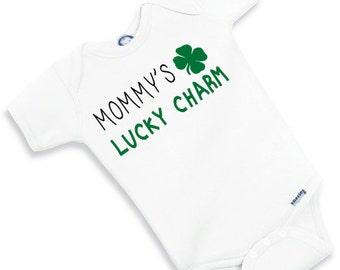 Mommy's Lucky Charm - Little Leprechaun Onesie - St. Patrick's Day Baby Shower Lucky Gift Shamrock 4 leaf clover Bodysuit