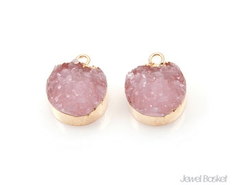 Round Rose Quartz Druzy Charm in Gold - 2pcs of Rose Quartz Drusy / 12mm / SRQG113-P