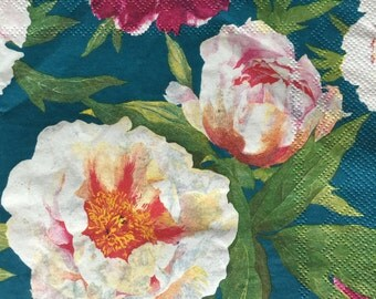 Flowers Paper Napkins PEONY BLUEGREEN BACKGROUND 2 (two) Lunch Size White Pink Red Flowers Paper Napkins for Decoupage Mixed MediaCrafts