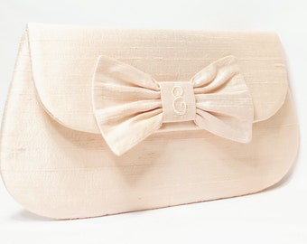 Personalized Silk Dupioni Bow Clutch - Wedding Clutch - Bridesmaid Clutch - Blush Clutch - Personalized Label