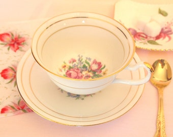 Tea Cup and Saucer Set | White and Floral with Gold Gilt | English China Clare China England | Gift for Her | Afternoon Tea Party