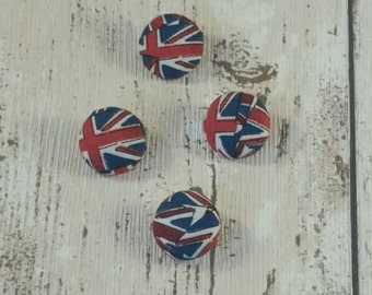 Union Jack Buttons, fabric covered buttons, London, Union Jack, Queen Elizabeth, Great Britain flag, handmade buttons, buttons