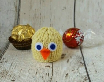 Easter Chick / Bird hand knitted Ferrero Rocher or Lindt Lindor chocolate cover/ favour
