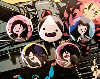 Marceline - Adventure Time Upcycled Comic Book Button Badge Set.