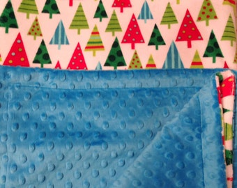 Adult Minky Blanket, Christmas Blanket or Throw, Christmas Tree, Large Couch Throw,Modern Christmas Blanket, Throw Size 50 x 60 inch