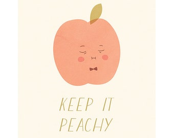 Printable Art, Keep It Peachy, Peach Print, Peachlings, Wall Art Print