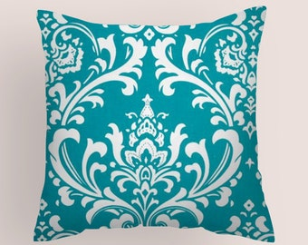 Blue  Decorative Throw Pillow. Pillow Cover  18 x18   Turquoise/White. Cushion Covers   Accent Pillows  Home Decor Nursery Kids