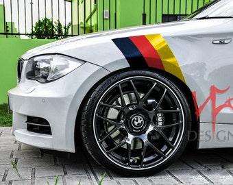 BMW M SERIES German Fender Hash 3 Racing Stripe Vinyl Decal War Paint Nickos Designz