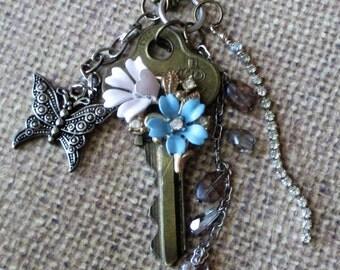 Vintage Assemblage Necklace Vintage Key Necklace Key Charm Necklace