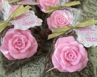 10 ROSE SOAPS (Tags and ribbons include) Bridal Shower, Wedding Favor, Mothers day,Shabby chic