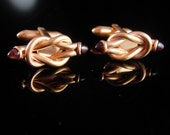 Rose gold plated cufflinks Red garnet Jewel Love Knot Vintage Cuff link  twisted eternity rope wedding groom gift 15th 40th anniversary