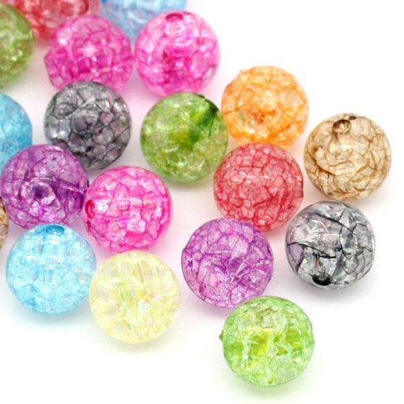 Bead Supplies- 20 Pieces. Mixed Crackle Acrylic Beads. Mixed Beads. Jewelry Making 12 mm -Jewelry Supplies-Little Laser Lab.