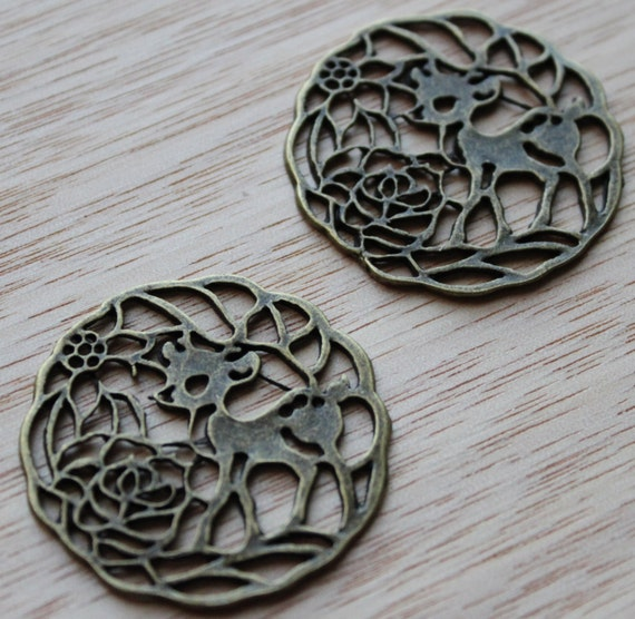Jewelry Supplies- 2 pieces. 24mm Antique Bronze Filigree Deer Charm Pendant - Little Laser Lab