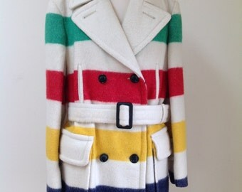 Vintage Hudson's Bay Wool Blanket Belted Striped Coat