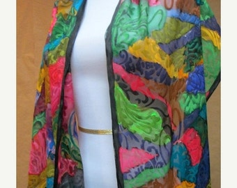 Silk scarf fashion accessory shawl wrap hand painted, textured devore silk unique gift woman, made in the Hudson Valley