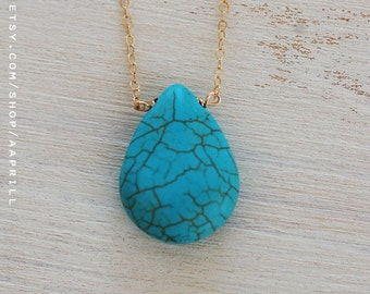 Turquoise drop necklace, turquoise necklace, drop necklace, turquoise gemstone necklace, dainty necklace, simple necklace, bridesmaid gift