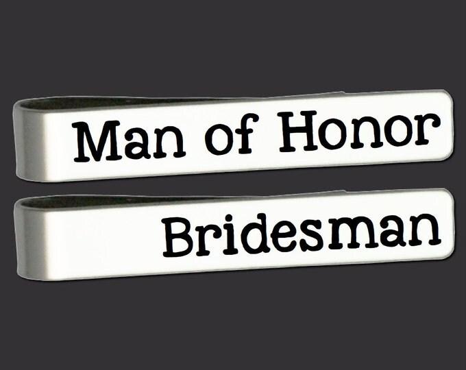 Tie Clip | Tie Bar | Man of Honor Gift | Bridesman Gift | Groomsmen Gifts | Wedding Gifts | Custom Personalized Tie Bar Korena Loves