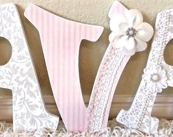 Baby girl nursery etsy nursery letters baby girl nursery decor wall letters for nursery wooden letters negle Choice Image