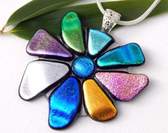 RESERVED FOR GLADYS - Glass Flower Pendant - Dichroic Fused Glass Jewelry - Art Glass Floral Necklace