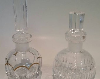 Vintage Pair of Crystal Perfume Bottles/ Vanity decor