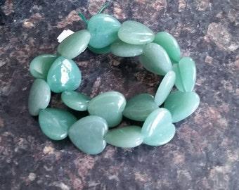 1 Large Green Aventurine 20mm Heart Bead