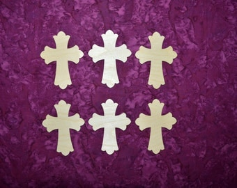 """Unfinished Wood Crosses Wooden Craft Shapes 4"""" Inch Tall 6 Pieces  # C04-026"""