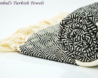 SALE 50% OFF Diamond Istanbul's Turkish BATH Towel Peshtemal - Black - Bath, Beach, Spa, Swim, Pool Towels - Wedding Gift ,Fouta, Pestemal