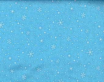 North Pole Greetings Snow flannel white snowflakes on blue - Elisabeth Jane for Studio e - by the continuous YARD
