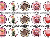 Valentine Bottle Cap Images - Digital Collage Sheet - Instant Download Printable - Valentines Day 4 x 6 one inch glass tile cabochon images