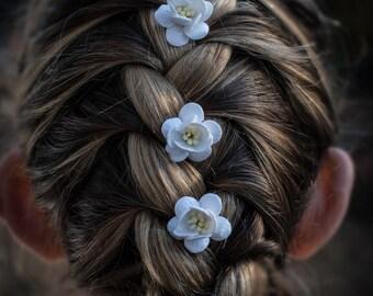 White Cherry Blossom Hair Clip Set/ Traditional/ Bridal/ Wedding Hair Accessories/ Bridesmaid Bobby Pin/ Wedding Flower Pins
