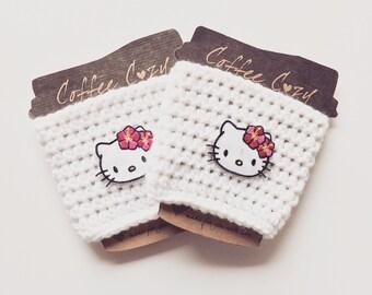Coffee Cozy, Crochet Coffee Cozy, Crochet Mug Cozy, White Coffee Cozy, Cup Cozy, Hello Kitty cup cozy, Coffee Cozy Sleeve, crochet cup cozy