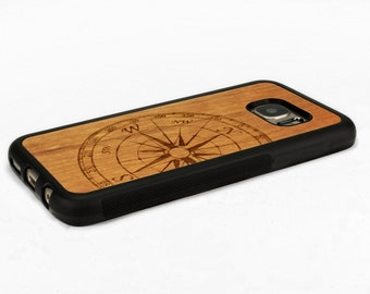 For Samsung Galaxy S7 Case Wood Compass, S7 Case Wood, S7 Wood Case, Galaxy S7 Edge Case Wood, S7 Edge Wood Case